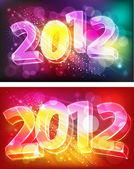 2012 on neon background — Stock Vector