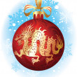 Christmas ball with dragon — Stock Vector