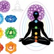 Stockvector : Silhouette of man with symbols of chakra