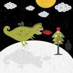 Cute dragon new year card. — Stock Vector