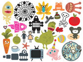 Mix of different vector images and icons. vol.26 — Stock Vector