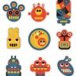 Cartoon robots facesr. Vector illustration set #1. — Stock Vector