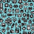 Cartoon robots faces seamless pattern on blue. — Stock Vector