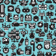 Cartoon robots faces seamless pattern on blue. - Stock Vector