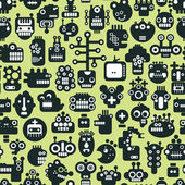 Cartoon robots faces seamless pattern on green. — Stock Vector