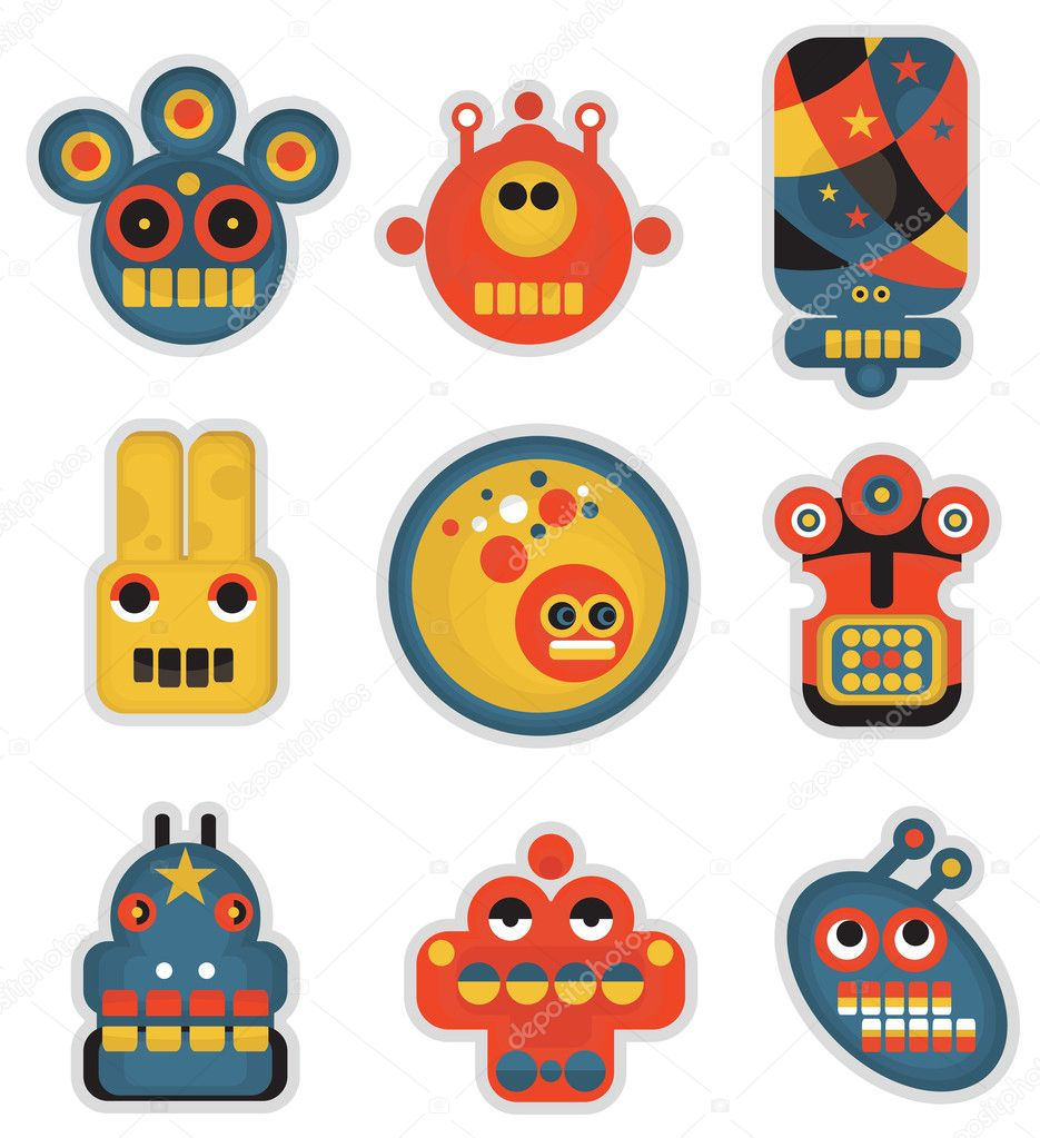 Cartoon robots and monsters faces in color. Vector illustration set. — Stock Vector #6871234
