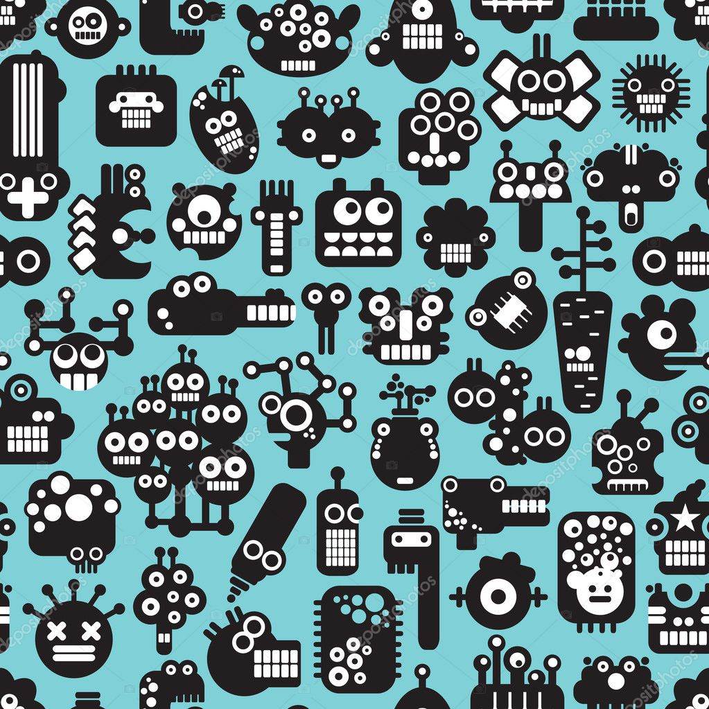 Cartoon robots faces seamless pattern on blue. — Stock ...