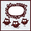 Cartoon banner and cute owls. — Stock vektor
