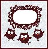 Cartoon banner and cute owls. — Stock Vector