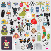 Big set of different cute monsters #3. — Stock Vector