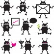 Cute robot icons black and white. Vector set. - Stock Vector