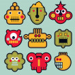 Cartoon robots and monsters faces in color #3. — Stock Vector
