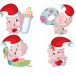 Royalty-Free Stock Vector Image: Collection of fun and cute christmas babies