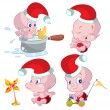 Collection of fun and cute christmas babies — Stock Vector