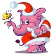 Cute pink santa elephant with flower — Stock Vector