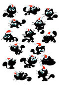 Collection of cute christmas cat silhouettes — Stock Vector