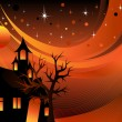 Stock Vector: Halloween Tree Background