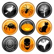 Halloween Button Icons — Stock Vector