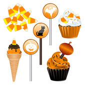 Halloween Candy Cupcakes — Stock Vector