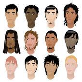 Mens Faces 6 — Stock Vector