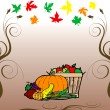Stock Vector: Thanksgiving Fruit Veg Card