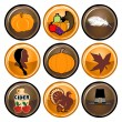 Thanksgiving Buttons — Vettoriali Stock