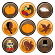 Thanksgiving Buttons — Stok Vektör