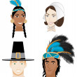 Stock Vector: Indians and Pilgrims