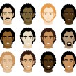 Curly Afro Men Faces — Stock Vector #7607731