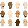 Bald Men Faces — Stock Vector
