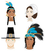 Indians and Pilgrims — Stock Vector