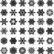 36 original snowflakes — Stock Vector