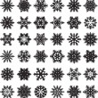 Stock Vector: 36 original snowflakes
