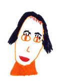 Child's drawing - portrait of my mother — Stock Photo