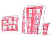 Child's drawing - cityscape — Stok fotoğraf