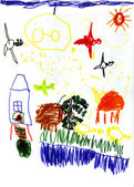 Child's drawing - summer landscape — ストック写真