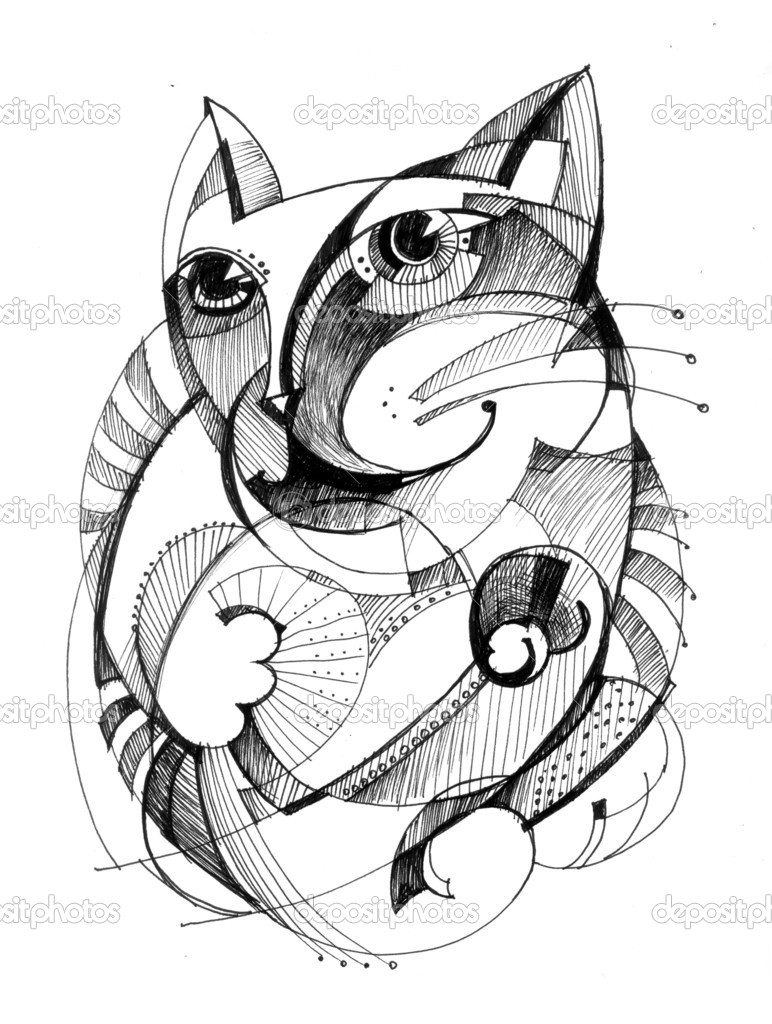 Cat - Abstract Drawing U2014 Stock Photo U00a9 AlfaOlga #7236036