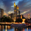 View on Frankfurt am Main at dusk, Germany - Stock Photo