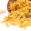 Corn flakes in dish isolated on white — Stock Photo