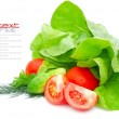 Fresh vegetables and green salad isolated on white background — Stock Photo