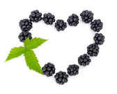 The fresh berries of blackberry are expounded in form heart — Stock Photo