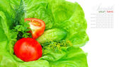 Fresh vegetables and greenery on green salad — Stock Photo
