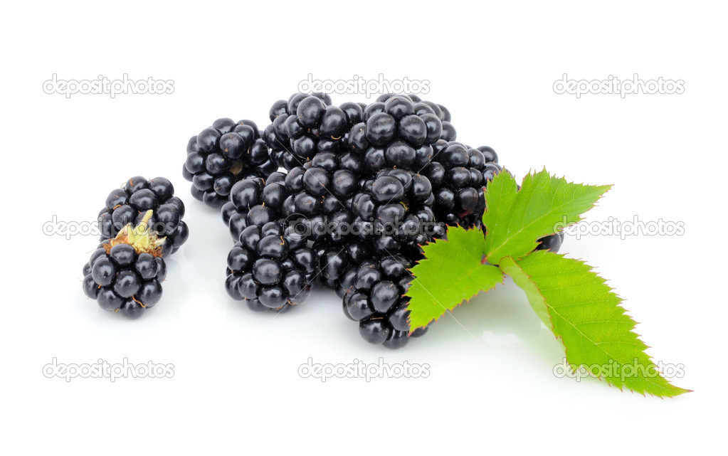 Fresh berry blackberry with green leaf isolated on white background — Stock Photo #7333525