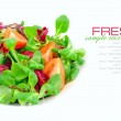 Fresh mixed salad with tomatoes on a white background — Stock Photo