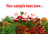 Christmas composition is with the toys of Santa Claus on white — Stock Photo
