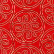 Red vintage fabric with gold decor — Stock Photo