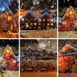 Decorated house with christmas lights — Stock Photo
