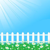 Blue sky with white fence — Stock Vector