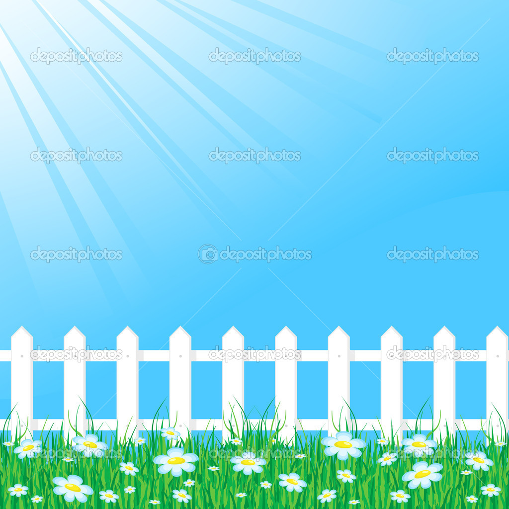 Picket Fence Vector Blue sky with white fence