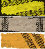 Tire track banners — Stock Vector